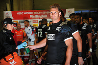 NZ's Scott Curry takes a last drink before running out for the final match against USA on day one of the 2017 HSBC World Sevens Series Wellington at Westpac Stadium in Wellington, New Zealand on Saturday, 28 January 2017. Photo: Dave Lintott / lintottphoto.co.nz