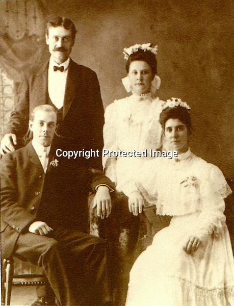 Seated: Bernard Arthur Litzinger (1878) and Gertrude Cecilia (Flanigan/McConnell) Litzinger  Standing: Alphonse Sherdan and Susan Fitzpatrick Quevy. Wedding day in Ashville, PA.  -  Sept. 12, 1905<br /> <br /> Conrad&gt;Leonard&gt;Simon&gt;Bernard&gt;Peter&gt;William Elliot&gt;Bernard Arthur