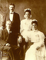 Seated: Bernard Arthur Litzinger (1878) and Gertrude Cecilia (Flanigan/McConnell) Litzinger  Standing: Alphonse Sherdan and Susan Fitzpatrick Quevy. Wedding day in Ashville, PA.  -  Sept. 12, 1905<br /> <br /> Conrad&gt;Leonard&gt;Simon&gt;Bernard&gt;Peter&gt;William Elliot&gt;Bernard Arthur