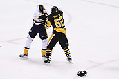 8th June 2017, Pittsburgh, PA, USA; Nashville Predators right wing Viktor Arvidsson (38) and Pittsburgh Penguins left wing Carl Hagelin (62) scrum during the third period. Game Five was won 6-0 by the Pittsburgh Penguins against the Nashville Predators during the 2017 NHL Stanley Cup Final on June 8, 2017, at PPG Paints Arena in Pittsburgh, PA. The Penguins take a 3-2 series lead in the best of seven series with the victory.