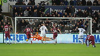 Aston Villa's Orjan Nyland saves\ from Swansea City's Wilfried Bony's penalty<br /> <br /> Photographer Ian Cook/CameraSport<br /> <br /> The EFL Sky Bet Championship - Swansea City v Aston Villa - Wednesday 26th December 2018 - Liberty Stadium - Swansea<br /> <br /> World Copyright © 2018 CameraSport. All rights reserved. 43 Linden Ave. Countesthorpe. Leicester. England. LE8 5PG - Tel: +44 (0) 116 277 4147 - admin@camerasport.com - www.camerasport.com