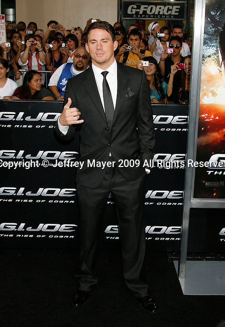 "HOLLYWOOD, CA. - August 06: Channing Tatum arrives at a special screening of ""G.I. Joe: The Rise Of The Cobra"" on August 6, 2009 in Hollywood, California."