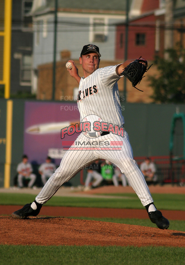 August 13, 2003:  Preson Larrison of the Erie Seawolves, Class-AA affiliate of the Detroit Tigers, during a Eastern League game at Jerry Uht Park in Erie, PA.  Photo by:  Mike Janes/Four Seam Images