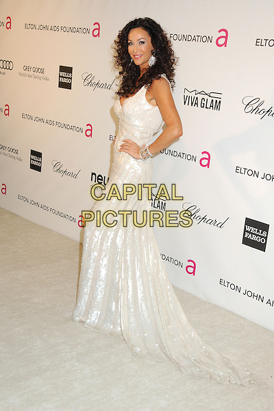 Sofia Milos.21st Annual Elton John Academy Awards Viewing Party held at West Hollywood Park, West Hollywood, California, USA..February 24th, 2013.oscars full length dress silver white sequins sequined side hand on hip  .CAP/ADM/BP.©Byron Purvis/AdMedia/Capital Pictures.
