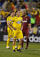 24 APRIL 2010:  Guillermo Barros Schelotto of the Columbus Crew (7) prepares to take a penalty kick during the Real Salt Lake at Columbus Crew MLS soccer game in Columbus, Ohio. Columbus Crew defeated RSL 1-0 on April 24, 2010.