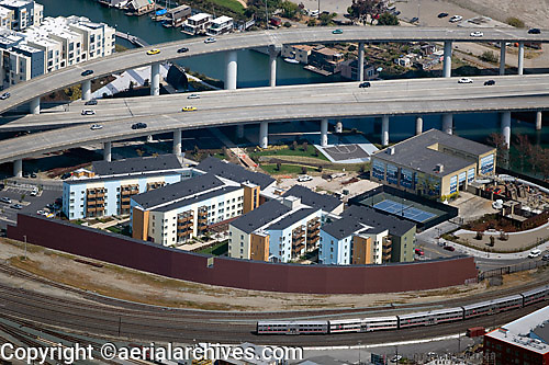 aerial photograph residential apartment buildings at highway 280 and Caltrain San Francisco California