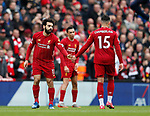 Mohamed Salah of Liverpool celebrates scoring the equaliser during the Premier League match at Anfield, Liverpool. Picture date: 7th March 2020. Picture credit should read: Darren Staples/Sportimage