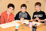 Finn and Sam Reynolds of Legavoureen Manor and David Moroney of Ardrath Wood at the Valentine's Day Heart Art Workshop at the Droichead Arts Centre. Photo: Andy Spearman