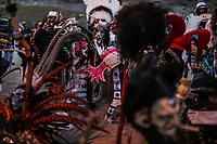 Retrato de rostro de un Fariseos con mascaras deminiacas y disfraces alinigenas y demonios, durante la celebraciones de cuaresma, Semana Santa en la colonia Coloso Alto...<br /> Portrait of the face of a Pharisee with demi-mask masks and ali-gentian costumes and demons, during the celebrations of Lent, Holy Week in the Colossus Colony ..<br /> (Photo:Luis Gutierrez/NortePhoto)