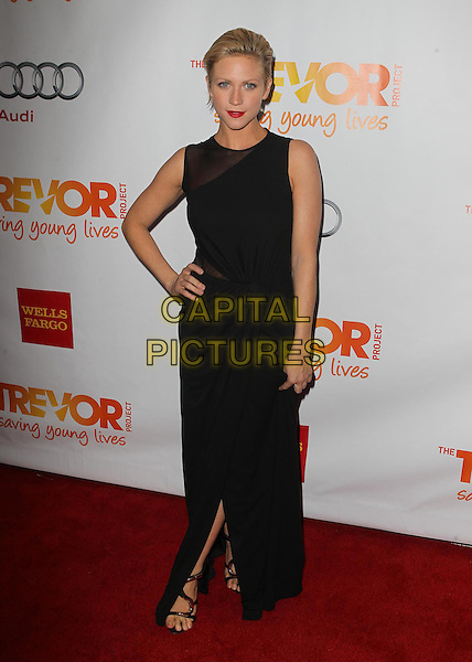 "Brittany Snow.The Trevor Project's ""Trevor Live"" 2012 held at the Hollywood Palladium, Hollywood, California, USA..December 2nd, 2012.full length black sleeveless dress sheer slit split hand on hip .CAP/ADM/KB.©Kevan Brooks/AdMedia/Capital Pictures."