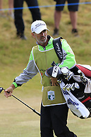Colin Byrne caddying for Rafael Cabrera-Bello (ESP) at the 14th green during Thursday's Round 1 of the 2018 Dubai Duty Free Irish Open, held at Ballyliffin Golf Club, Ireland. 5th July 2018.<br /> Picture: Eoin Clarke | Golffile<br /> <br /> <br /> All photos usage must carry mandatory copyright credit (&copy; Golffile | Eoin Clarke)
