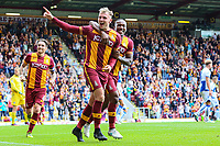 Charlie Wyke of Bradford City celebrating scoring his second of three goals of his hat trick  during the Sky Bet League 1 match between Bradford City and Bristol Rovers at the Northern Commercial Stadium, Bradford, England on 2 September 2017. Photo by Thomas Gadd.