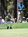 Steph Curry lines up a putt during the ACC Golf Tournament at Edgewood Tahoe Golf Course in South Lake Tahoe on Sunday, July 14, 2019.