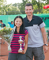 August 9, 2014, Netherlands, Rotterdam, TV Victoria, Tennis, National Junior Championships, NJK,  Prize giving, Richard Krajicek with Arianne Hartono, runner up  girls 18 years<br /> Photo: Tennisimages/Henk Koster