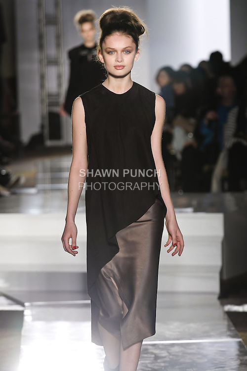 Model walks runway in an outfit by John Paul Rangel, for the Parsons 2011 BFA Fashion Show, hosted by Reed Krakoff.