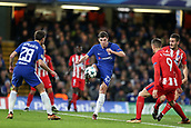 5th December 2017, Stamford Bridge, London, England; UEFA Champions League football, Chelsea versus Atletico Madrid; Andreas Christensen of Chelsea clears the ball out over Fernando Torres of Atletico Madrid and Cesar Azpilicueta of Chelsea