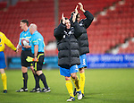 Dunfermline v St Johnstone..24.12.11   SPL .Jody Morris and Murray Davidson applaud the fans at full time.Picture by Graeme Hart..Copyright Perthshire Picture Agency.Tel: 01738 623350  Mobile: 07990 594431
