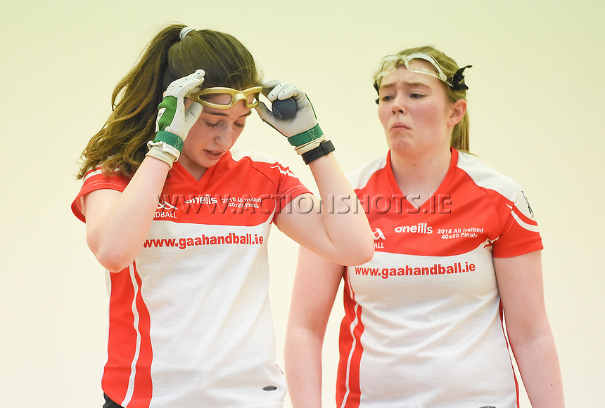 07/04/2018; GAA Handball O&rsquo;Neills 40x20 Championship Ladies Senior Final - Cork (Catriona Casey/Aisling O&rsquo;Keeffe) v Roscommon (Fiona Tully/Leona Doolin); Kingscourt, Co Cavan;<br /> Catriona Casey and Aisling O'Keefe<br /> Photo Credit: actionshots.ie/Tommy Grealy