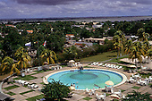 Santarem, Para State, Brazil. The pool of Hotel Tropical and view of the city.