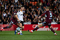 1st February 2020; Mestalla, Valencia, Spain; La Liga Football,Valencia versus Celta Vigo; Ferran Torres of Valencia CF is challenged by Jorge and Okay Yokuslu of Celta