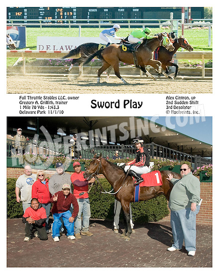 Sword Play winning at Delaware Park on 11/1/10