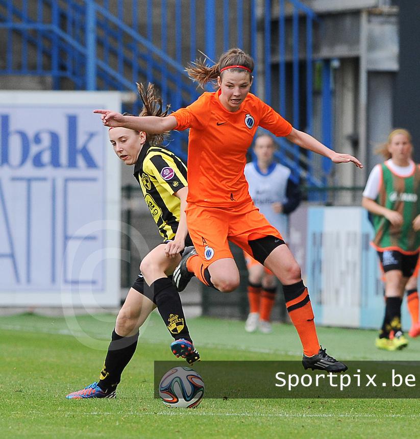 Bekerfinale vrouwen 2015 : Lierse-Club Brugge Vrouwen :<br /> <br /> Nicky Van den Abbeele (R) springt zich een weg voorbij Hannelore Van Poppel (L)<br /> <br /> foto VDB / BART VANDENBROUCKE