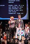 REASONS TO BE CHEERFUL by Sirett;<br /> Stephen Collins as Colin;<br /> Joey Hickman as Cousin Joey - keyboards;<br /> Directed by Sealey;<br /> Associate director: Beeton;<br /> Writer: Sirett;<br /> Designer: Ashcroft;<br /> Assistant designer: Charlesworth;<br /> Lighting designer: Scott;<br /> Sound designer: Gibson;<br /> Musical director: Hickman;<br /> Choreographer: Smith;<br /> Video designer: Haig;<br /> Projection design: Mclean; <br /> Music supervisor and Arrangements: Hyman;<br /> Voice coach: Holt; Casting: Hughes CDG<br /> BSL consultant: Jackson<br /> Audio description consultant: Oshodi<br /> Graeae Theatre Company;<br /> at The Belgrade Theatre, Coventry, UK;<br /> 8 September 2017;<br /> Credit: Patrick Baldwin;