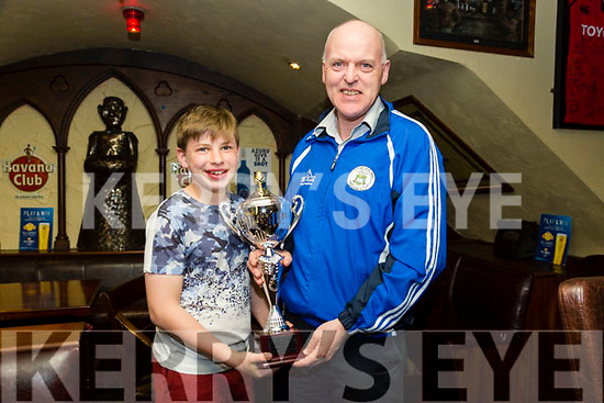St Patrick's Day Parade prizes presentation at the Abbey Inn on Monday Ruairi Reen and Dermot Reen from Tralee Parnells Hurling & Camogie Club winers of Most entertaining Parade float