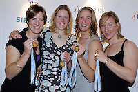Lords, London, 03.02.2007, GB Rowing Teams Dinner, GBR Women's Quadruple scull left to right, Katherine GRAINGER, Frances HOUGHTON, Sarah WINCKLESS and Debbie FlOOD, show their Gold medels after the presentation, following the annoucement by FISA on Mon 29.01.2007 that, the Bow of the Russian womens Quad. tested positive,  [Photo, Peter Spurrier/Intersport-images].  [Mandatory Credit, Peter Spurier/ Intersport Images].