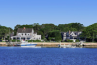 Exclusive waterfront homes along the bass River, Yarmouth, Cape Cod, Massachusetts, USA.