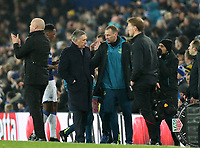 26th December 2019; Goodison Park, Liverpool, Merseyside, England; English Premier League Football, Everton versus Burnley; Everton Manager Carlo Ancelotti  speaks with his assistant Duncan Ferguson in the technical area - Strictly Editorial Use Only. No use with unauthorized audio, video, data, fixture lists, club/league logos or 'live' services. Online in-match use limited to 120 images, no video emulation. No use in betting, games or single club/league/player publications