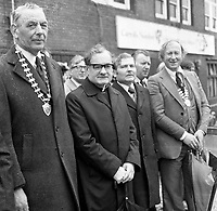 The St. Patrick's Day Parade makes its way down High Street and onto Main Street in 1978. Photo shows John O'Leary, TD, Grand Marshall with Peter Irwin, President, Killarney Chamber of Commerce  Bishop Kevin McNamara and Michael Moynihan, Chairman, KillarneyUDC..Picture by Don MacMonagle .www.macmonagle.com