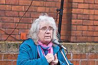 Mary Pearson BTUC speaking ar the Malcom X, Marshall Street, Smethwick, Blue Plaque unveiling