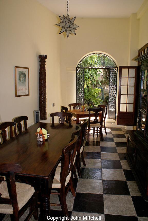 Dining room at Posada El Castillo, former home of Edward James in Xilitla, San Luis Potosi state, Mexico
