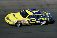 DAYTONA BEACH, FL - FEBRUARY 20: Dale Earnhardt drives Bud Moore's Wrangler Ford during the Daytona 500 on February 20, 1983, at the Daytona International Speedway in Daytona Beach, Florida.