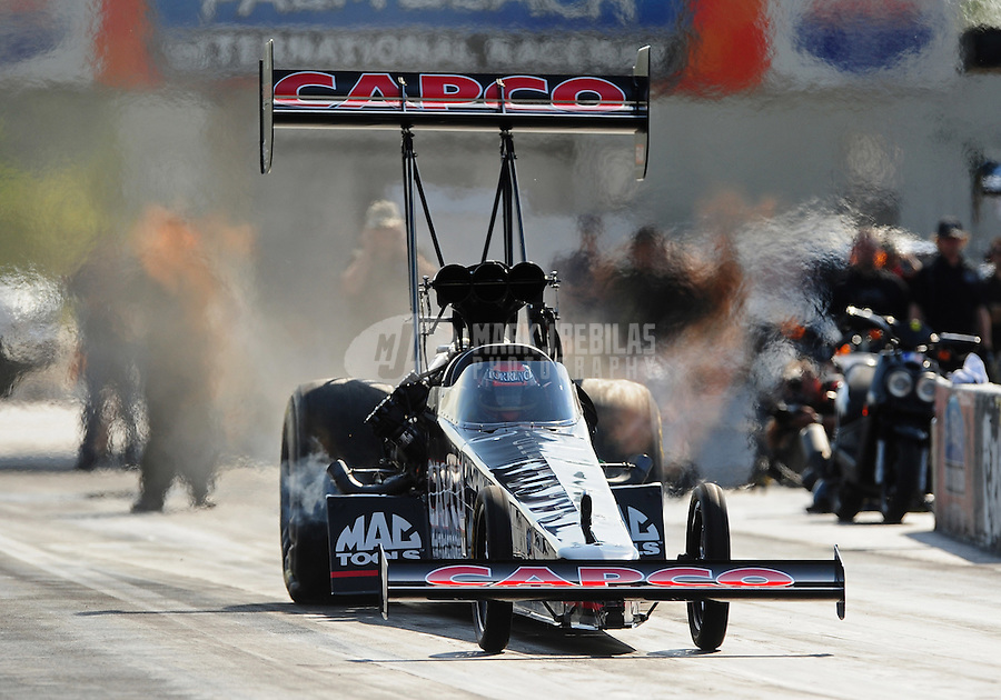 Jan. 18, 2012; Jupiter, FL, USA: NHRA top fuel dragster driver Steve Torrence during testing at the PRO Winter Warmup at Palm Beach International Raceway. Mandatory Credit: Mark J. Rebilas-