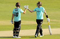 Gus Atkinson of Surrey (right) celebrates hitting the winning runs with laurie Evans during Essex Eagles vs Surrey, Vitality Blast T20 Cricket at The Cloudfm County Ground on 11th September 2020