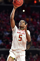 College Park, MD - March 23, 2019: Maryland Terrapins guard Kaila Charles (5) goes up for a lay up during first round action of game between Radford and Maryland at Xfinity Center in College Park, MD. Maryland defeated Radford 73-51. (Photo by Phil Peters/Media Images International)