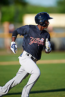 Tampa Yankees shortstop Jorge Mateo (14) runs to first during a game against the Lakeland Flying Tigers on April 7, 2016 at Henley Field in Lakeland, Florida.  Tampa defeated Lakeland 9-2.  (Mike Janes/Four Seam Images)