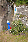Madonna statue in rocky grotto at Northbay, Barra, Outer Hebrides, Scotland, UK
