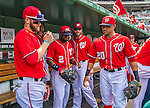 27 July 2013: Washington Nationals outfielder Bryce Harper and his teammates get ready to take the field prior to a game against the New York Mets at Nationals Park in Washington, DC. The Nationals defeated the Mets 4-1. Mandatory Credit: Ed Wolfstein Photo *** RAW (NEF) Image File Available ***
