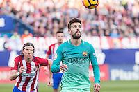 Gerard Pique of Futbol Club Barcelona in action during the match of Spanish La Liga between Atletico de Madrid and Futbol Club Barcelona at Vicente Calderon Stadium in Madrid, Spain. February 26, 2017. (ALTERPHOTOS) /NortEPhoto.com