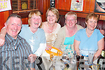 30. PICTURES 5804- 5810..IN GOOD FORM: Enjoying the celebrations in Mike The Pies Bar, Listowel, on Sunday evening were, from left: Joe Enright, Knockanure, Matilda Sweeney, Listowel, Marilyn Kelly, Ballydonoghue, Bernadette Enright, Knockanure, and Maureen Duffy, Duagh.