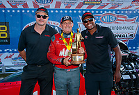 Sep 2, 2019; Clermont, IN, USA; NHRA top fuel driver Doug Kalitta celebrates with Toyota Racing officials after winning the US Nationals at Lucas Oil Raceway. Mandatory Credit: Mark J. Rebilas-USA TODAY Sports