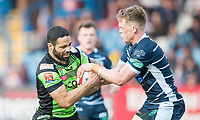 Picture by Allan McKenzie/SWpix.com - 11/05/2017 - Rugby League - Ladbrokes Challenge Cup - Featherstone Rovers v Halifax RLFC - The LD Nutrition Stadium, Featherstone, England  - Halifax's Will Sharp tussles for the ball with Featherstone's Cory Aston.