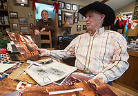 NWA Democrat-Gazette/BEN GOFF @NWABENGOFF<br /> Bunky Boger talks about a rodeo act he performed jumping a buffalo though a hoop of fire Thursday, Dec. 28, 2017, at his home in Lowell.