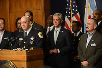 Interim Chicago Police Superintendent John Escalante flanked by Chicago Mayor Rahm Emanuel during a press conference at Chicago City Hall announcing more Tasers for Chicago police officers and training following a deadly shooting involving Chicago police over the weekend while Mayor Emanuel was on vacation in Cuba in Chicago, Illinois on December 30, 2015.  Over the weekend, Chicago police shot and killed 55 year old Bettie Jones and 19 year old Quintonio LeGrier while responding to a call over a domestic incident.