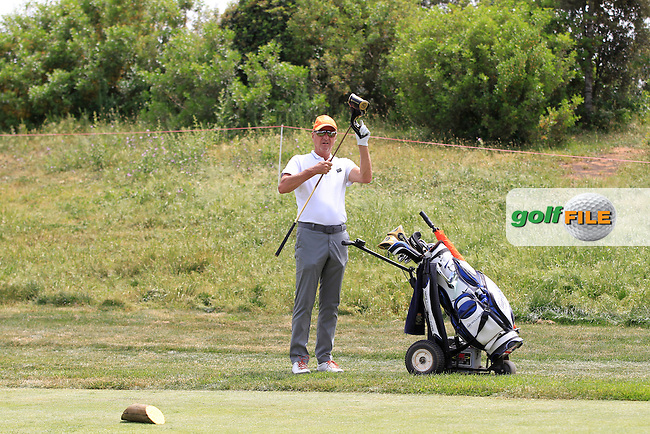 Johann Cruyff (AM) on the 9th tee during the Pro-Am of the Open de Espana  in Club de Golf el Prat, Barcelona on Wednesday 13th May 2015.<br /> Picture:  Thos Caffrey / www.golffile.ie