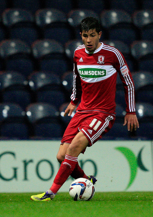 Middlesbrough's Emmanuel Ledesma ..Football - Capital One Cup Third Round - Preston North End v Middlesburgh - Tuesday 25th September 2012 - Deepdale - Preston. .
