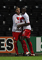 Lucas Akins of Stevenage (r) is congratulated by Robin Shroot after scoring their equaliser.  Notts County v Stevenage- npower League 1 -  Meadow Lane, Nottingham - 2nd October, 2012. © Kevin Coleman 2012